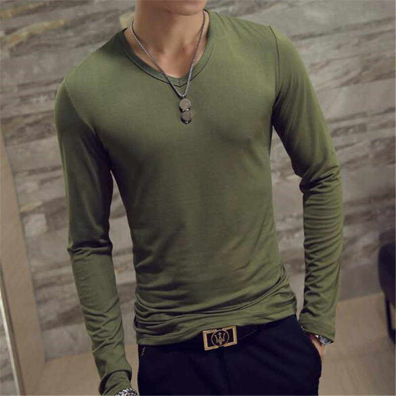 Autumn Long-sleeve T-shirt Men V-neck Casual Slim Fit Cotton Shirt Small V Neck Looose Tops Male Sports T Shirt Tracksuit Hombre