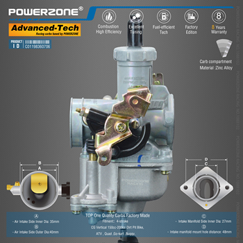 Powerzone carburador PZ27B 27mm CVK acelerador bomba Carb para CG Vertical 150cc-200cc Dirt Pit Bike,ATV,Quad ,Go-kart ,Buggy