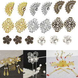 DIY Accessories Silicone Mould Metal Filigree Flowers Slice Charms Base Setting Jewelry Components Findings For Hairpin