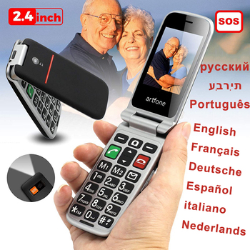 Russian, Hebrew, Portuguese Language Senior Mobile Phone with SOS Emergency Button Flip Big Button Mobile Phone for Elderly