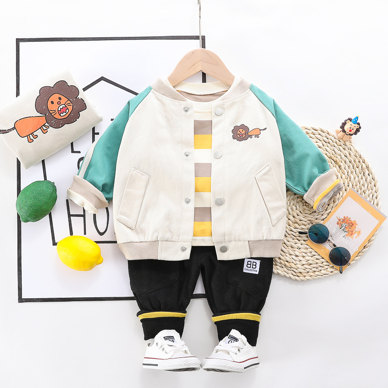 3 Pieces/Set Clothes Baby Boys Girls Clothes Patchwork Jacket Candy Striped T-Shirt Sets Cotton Infant Children Outwear