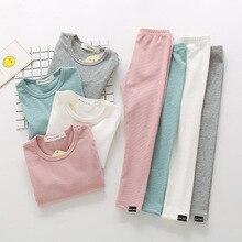 2018 새로운 패션 아기 소녀 잠옷 아이 소년 어린이 의류 가을 겨울 유아 세트 핑크 부드러운 편안한 긴 소매