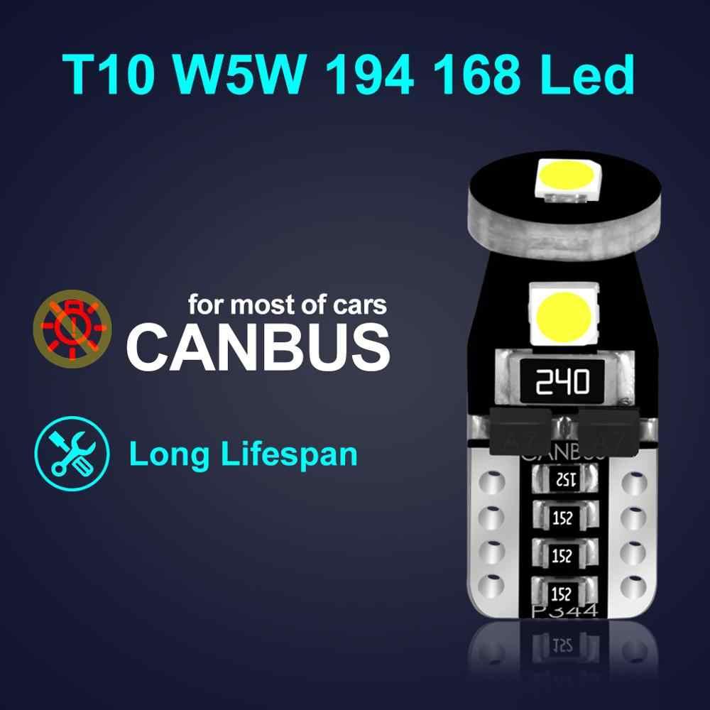 10 Uds. De bombillas Led T10 Canbus W5W 168 194 6000K, lámpara de señal blanca, domo, luz de lectura para matrícula, luces interiores para automóvil 12V