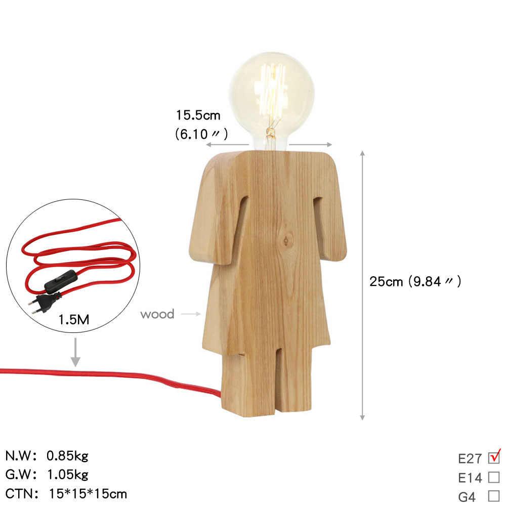 נורדי רטרו שולחן מנורות E27 בסיס עץ שולחן מנורת לופט תפאורה כפתור מתג האיחוד האירופי תקע אדיסון LED אורות לחדר שינה סלון