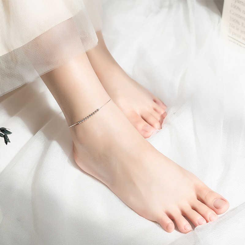 Colusiwei מינימליסטי עגול חרוזים צמיד 925 סטרלינג כסף Chian צמיד עבור רגל נשי רגל תכשיטי רגל נשים שרשרת