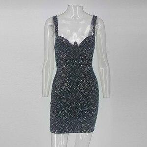 Image 5 - COSYGAL Vestido corto femenino de corte bajo para invierno y otoño, minivestido Sexy con diamantes para mujer, para discoteca, 2019