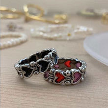 Neue Individualität Barock Vintage Hit Farbe Liebe Herz Metall Ringe für Frauen Mädchen Partei Schmuck