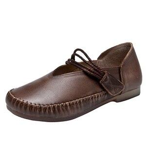 Image 3 - Gktinoo Lente Dames Echt Lederen Handgemaakte Retro Schoenen Vrouwen Klittenband Platte Schoenen Vrouwen 2020 Herfst Zachte Loafers Flats