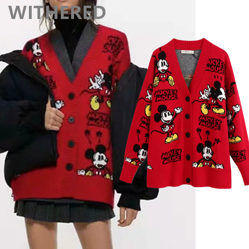 Withered 2020 Spring Knitting Cardigans Jacket England High Street Vintage Cartoon Mouse Loose Single Breasted Cardigans Women