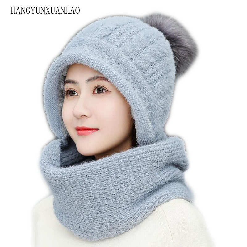 Rabbit Plush Hats Scarf Women Winter Fashion Beanies Sweet Cute Hedging Cap Velvet Wool Hat Student Hair Ball Caps Warm Knit Hat