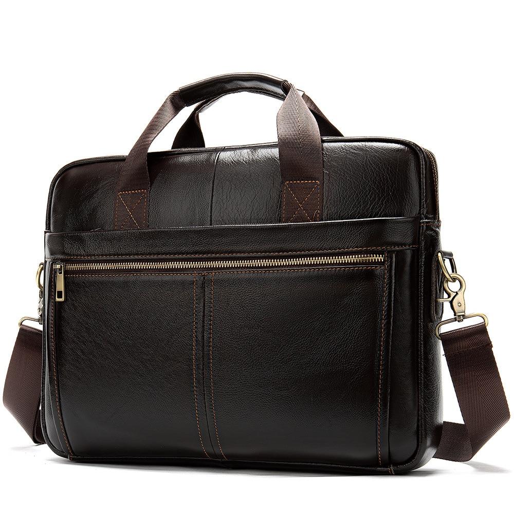 Real Leather Business Men's Portable Briefcase Mens Laptop Messenger Bags Male Laptop Tote Shoulder Bag Luxury Handle Bag