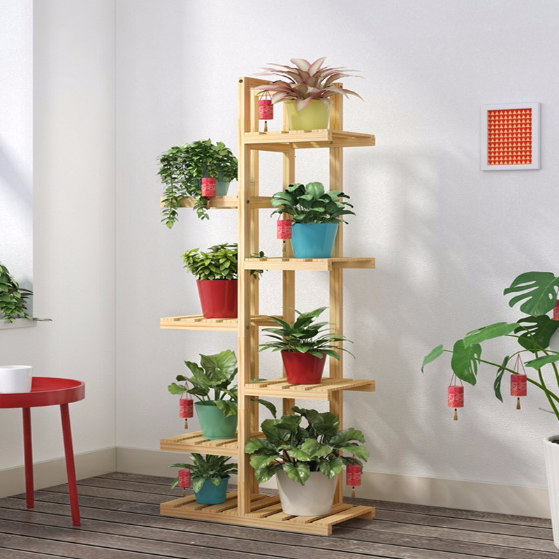 Multi-storey Indoor Balcony Meaty  Flowerpot Frame Solid Wood A Living Room Simplicity Landing Type Shelf