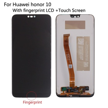 100% Tested Original New For Huawei Honor 10 COL-L29 LCD Display With Fingerprint Touch Screen Digitizer Assembly Replacement tested ok for sharp z3 lcd display with touch screen digitizer assembly replacement with tools 3m sticker