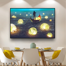 Abstract Landscape Canvas Painting Poster And Print Wall Art Boat Moon Scenery Picture For Home Design Decor Room Decoration fuwatacchi design picture here print