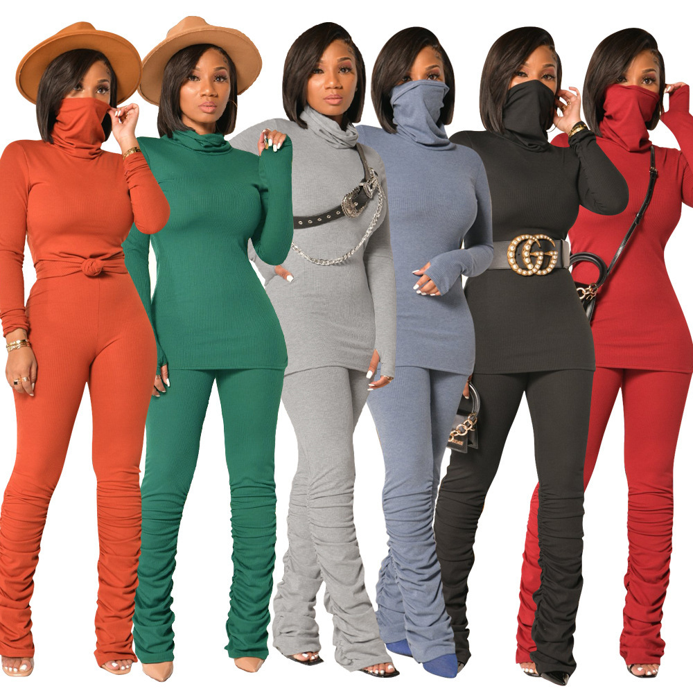 Stałe bandaż Fitness moda kobiety pasujące zestawy z długim rękawem z golfem sportowy treningu 2 sztuka strój torba Slim Top i ułożone spodnie