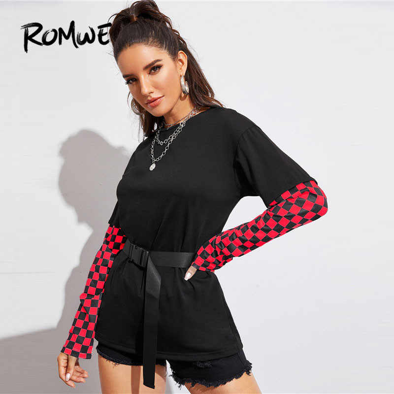 ROMWE Checker พิมพ์หัวเข็มขัด Belted เสื้อแขนยาวผู้หญิง Streetwear ฤดูใบไม้ร่วงรอบคอยาวสีดำเสื้อ T สุภาพสตรีพิมพ์ TShirt