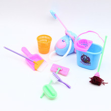 Pretend Play Broom Cleaning Kids Toys Doll-House Cute Mini Furniture-Tools-Kit Mop 9pcs/Set