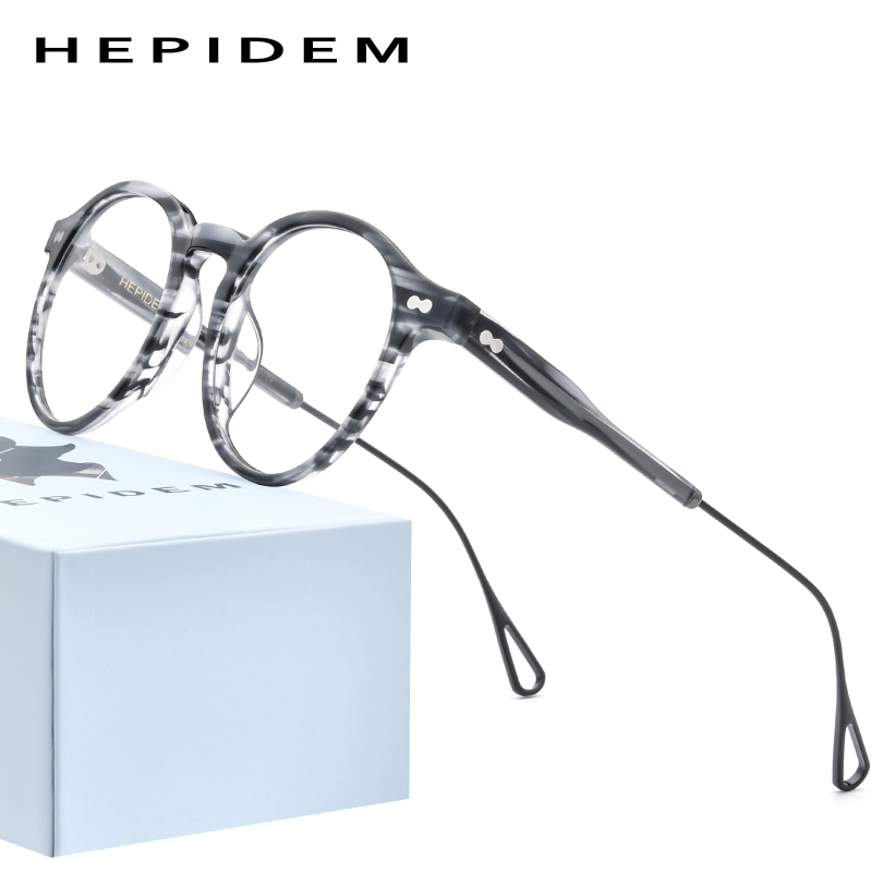 HEPIDEM Acetate Optical Glasses Frame Men 2020 Retro Vintage Round Eyeglasses Nerd Women Prescription Spectacles Eyewear 9121