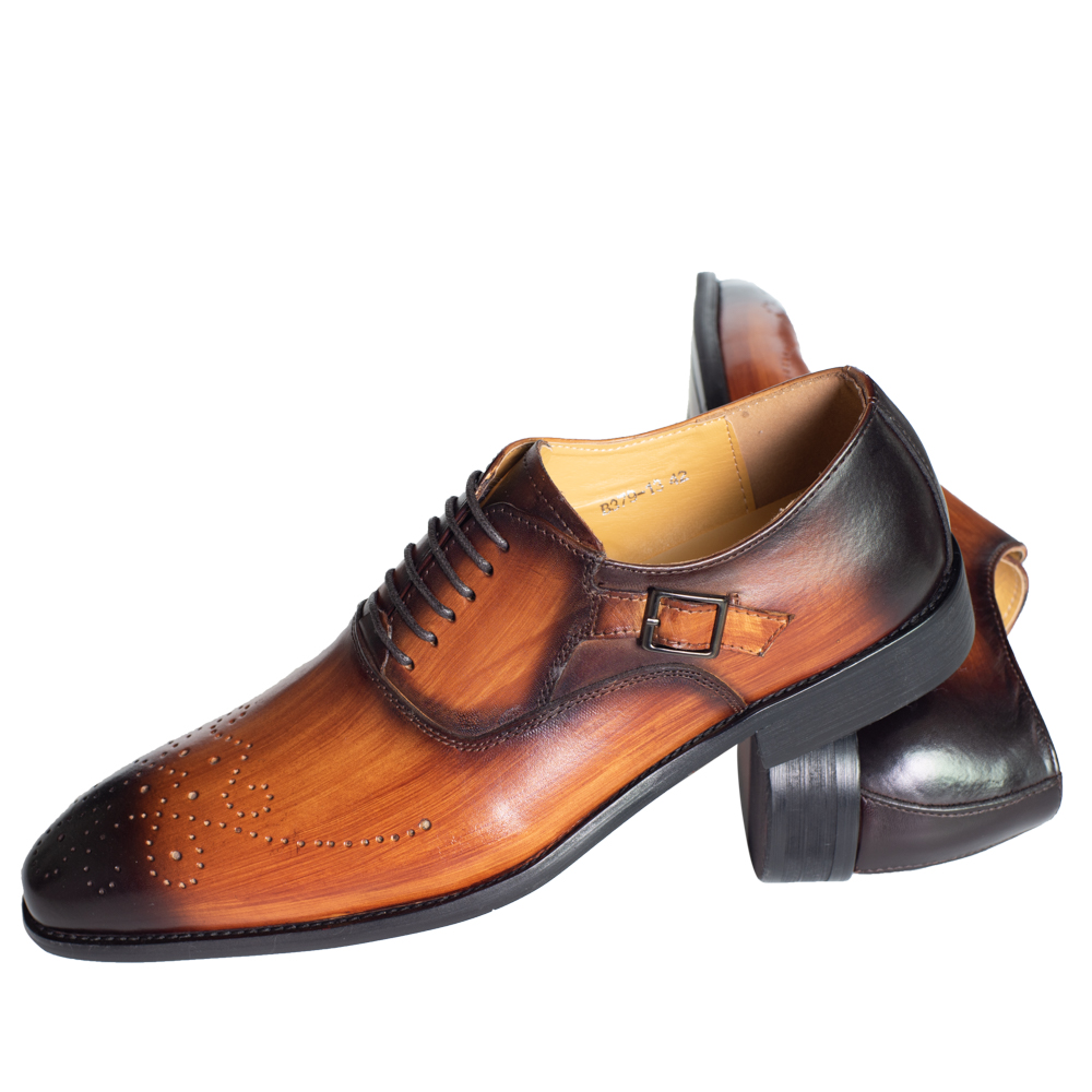 Men Dress Shoes Leather Buckle Strap Office Business Wedding Handmade Mixed Color Brogue Formal Pointed Toe Oxfords Mens Shoe