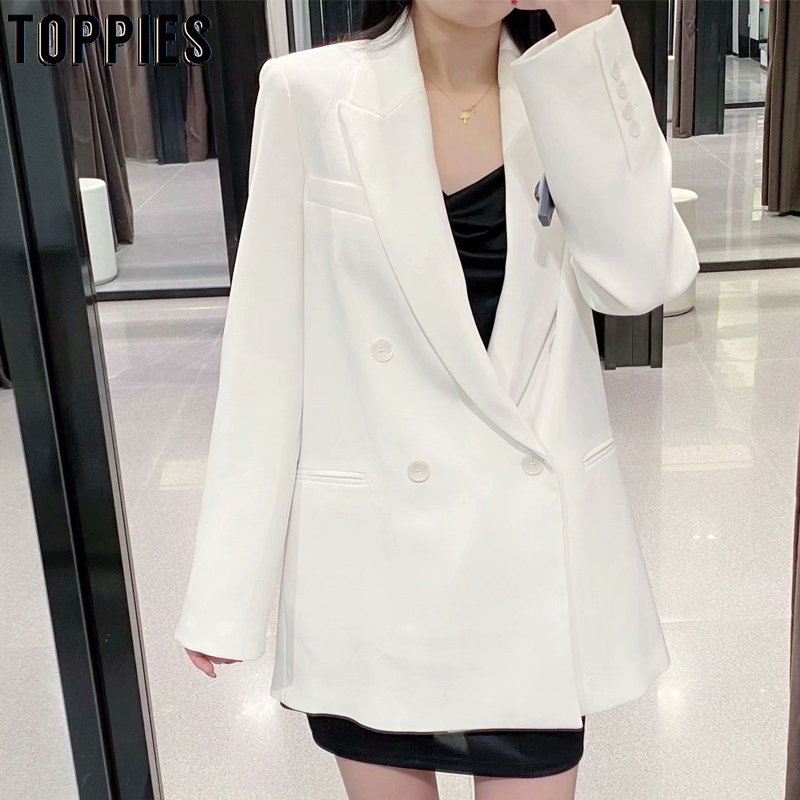 Ladies White Blazer Womens Double Breasted Suit Jacket Office Long Blazer Notched Collar Woman Coat