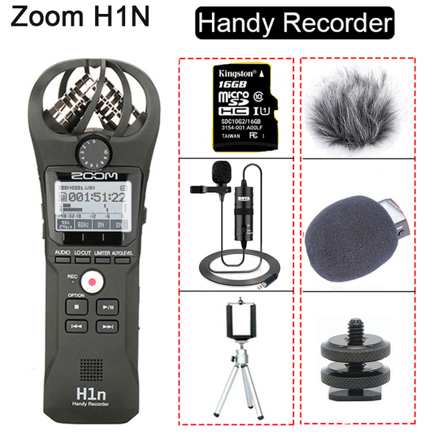 Original ZOOM H1N Handy Recorder DSLR Audio Video Interview Stereo Microphone with 16GB Card BY-M1 Lavalier Microphone 1