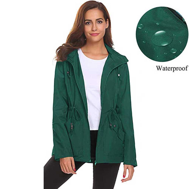 Ladies Outdoor Waterproof Jacket Hooded Jacket Womens Outside Waterproof Lightweight Raincoat Hooded Overcoat Rain Jacket