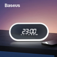 Baseus Night Light bluetooth Wireless Speaker Alarm Clock FM/TF Function Portable Loudspeaker Sound System For Bedside Office(China)