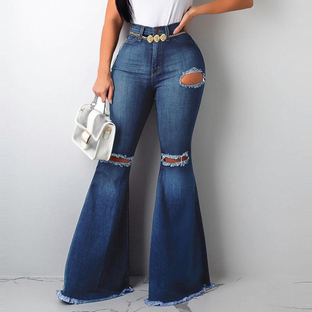 Mujer Cintura Alta Pantalones Acampanados Vaqueros Jeans Pantalones De Campana Vaqueros