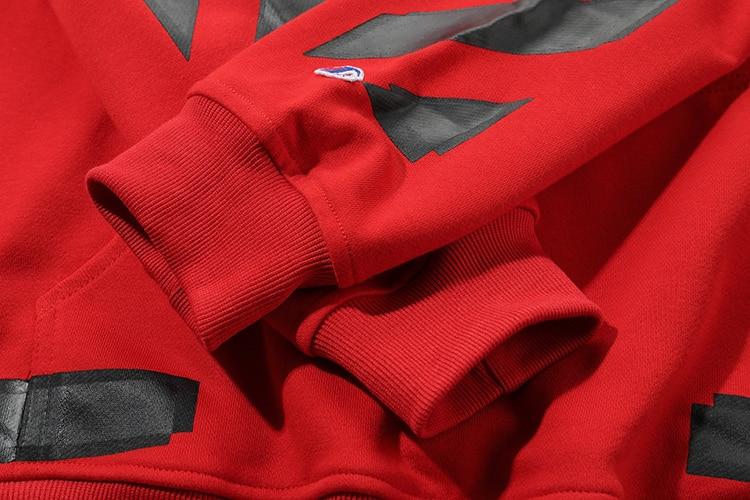 Noir flèche 19ss blanc cassé OW hommes femmes amoureux automne hiver coton mode streetwear à capuche veste à capuche sweat - 5