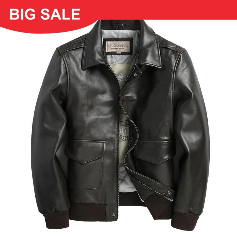 2020 Dark Brown Men USAF Pilot Leather Jacket Plus Size 3XL Genuine Sheepskin Autumn Military Aviator Leather Coat FREE SHIPPING
