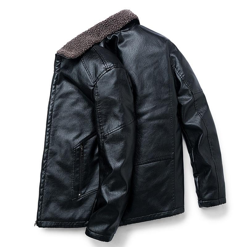 Winter Mens Leather Jacket Slim Plus Size Thick Fluffy Black Jacket Men Casual Pu Leather Faux Fur Collar Coat Male 6xl 7xl 8xl