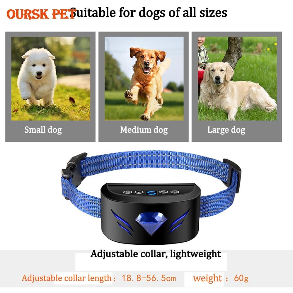 Electric Dog Training Collar With LED Shock Vibration Sound Multifunctional Dog Anti-barking Device Pet Supplies
