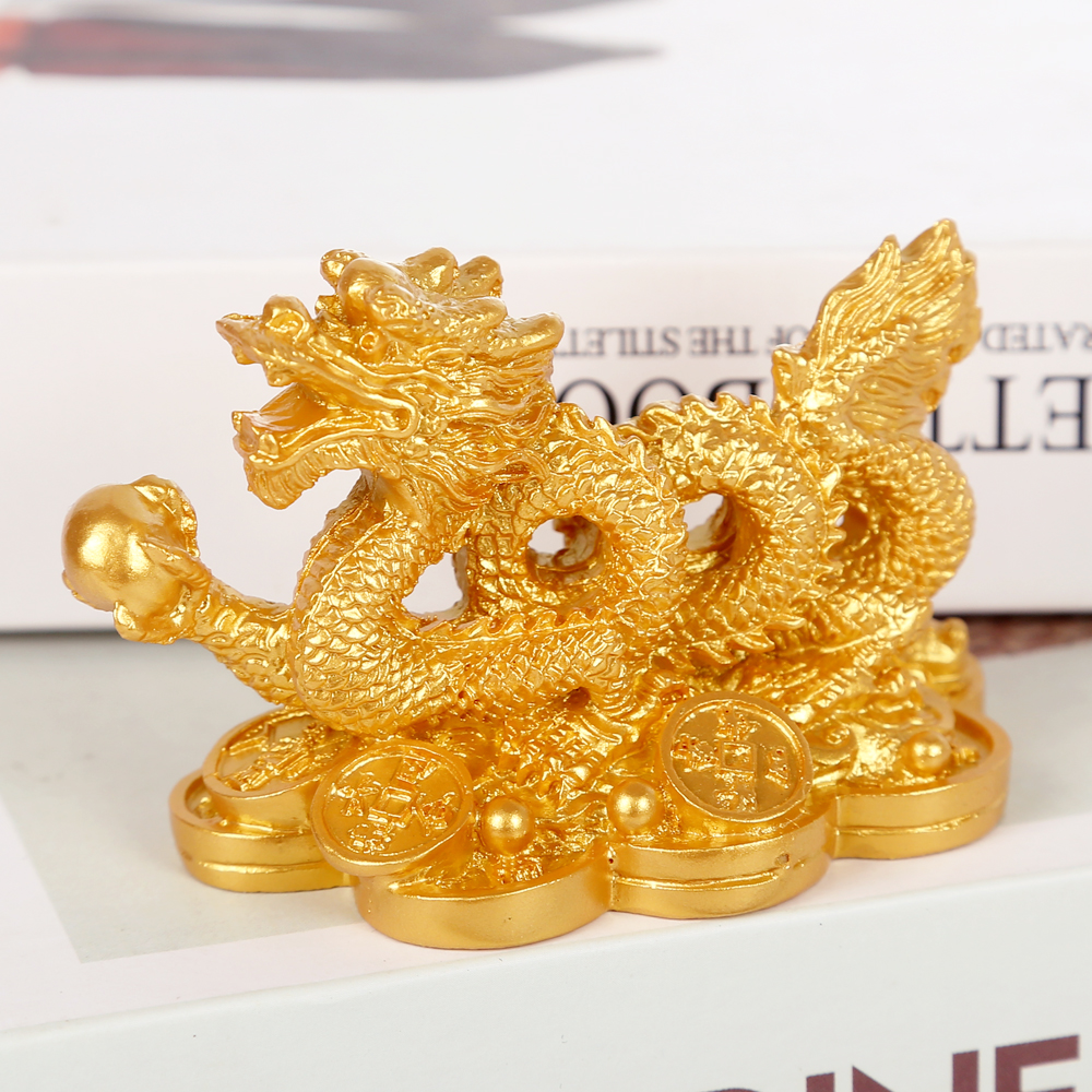 Chinese Classical Feng Shui Golden Dragon Statue Decoration Success Decoration Home Crafts Gold Coins Han Long