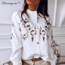 Women 2020 Autumn Chains Print Button blouse shirt Elegant Summer Adjustable Sleeve Leisure Top Elegant Office Lady Basic Blusas