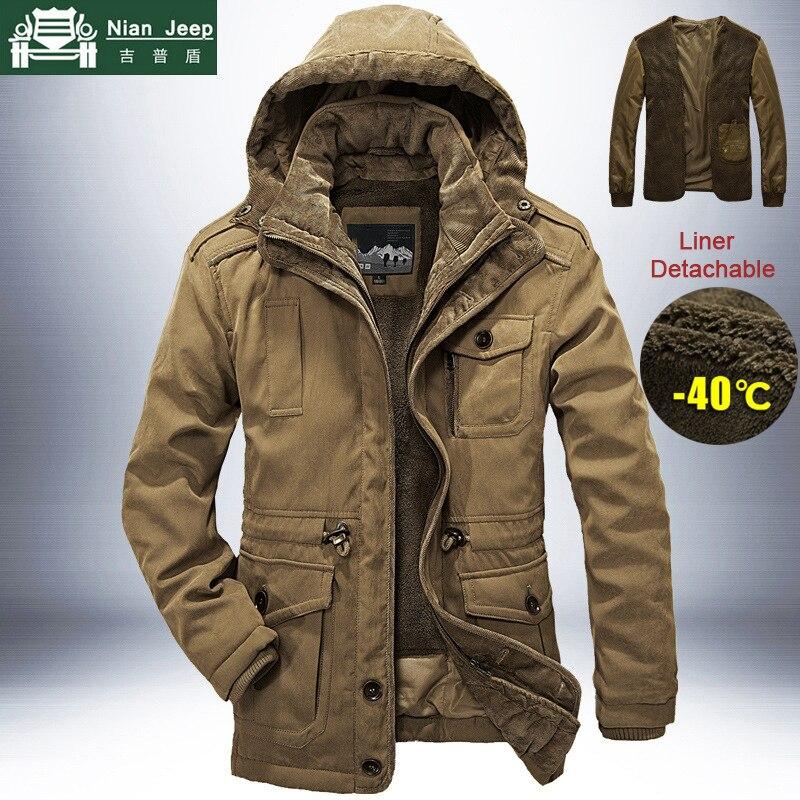 Брендовая зимняя куртка, Мужская Толстая теплая ветровка, мужские парки, высокое качество, кашемировая подкладка, съемная, 2 в 1, пальто размера плюс L 4XL