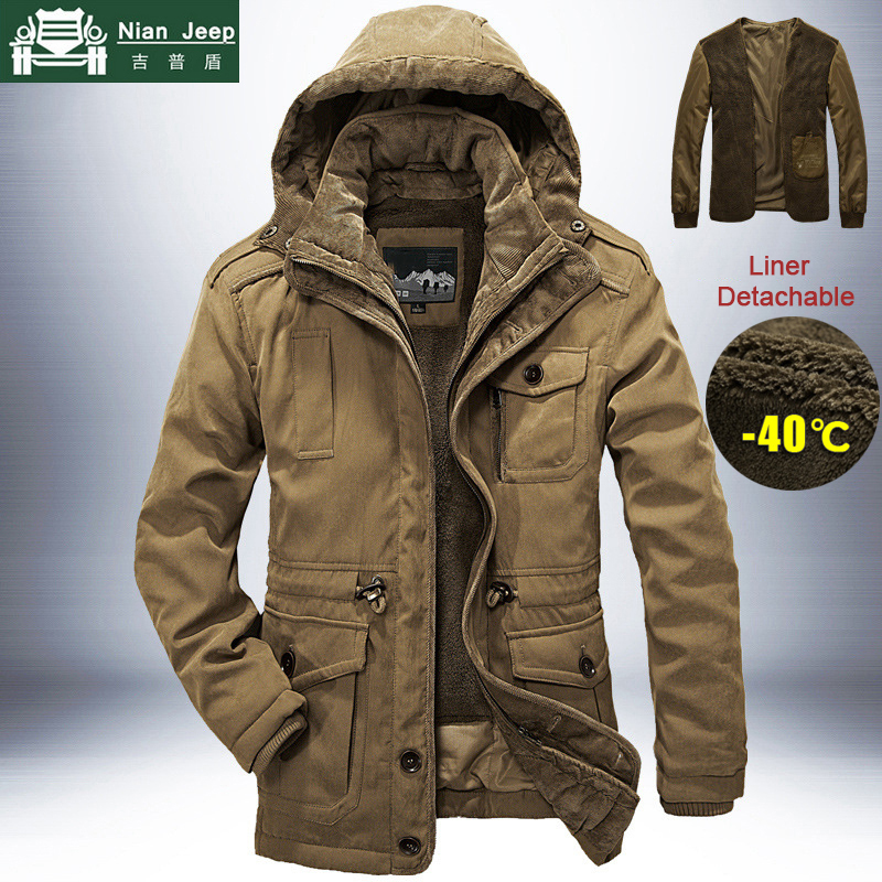 Brand Winter Jacket Men Thick Warm Windbreaker Mens Parkas High Quality Cashmere Liner Detachable 2 In 1 Coat Plus Size L-4XL