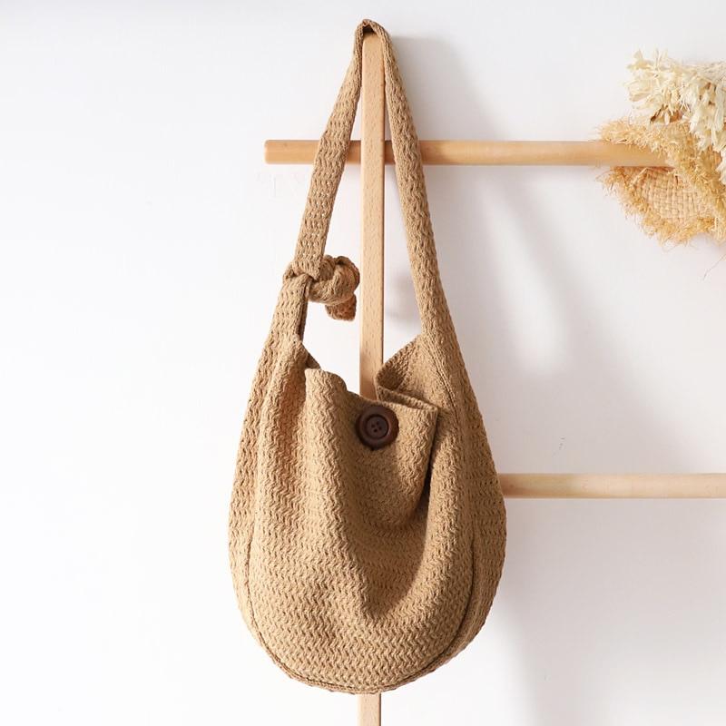 Sac à provisions femme coton fil sac à bandoulière environnement stockage sac à main réutilisable pliable Eco épicerie fourre-tout