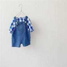 MILANCEL/осень 2020, новый комплект одежды для малышей, рубашка в клетку для мальчиков и джинсовый комбинезон, костюм для мальчиков из 2 предметов