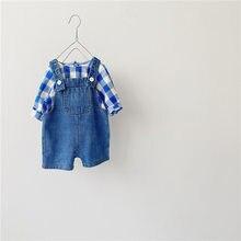 Milancel 2020 outono novo bebê roupas definir meninos xadrez camisa e denim geral 2 pçs meninos terno