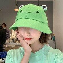 Bucket-Hat Fisherman Hats Panama-Cap Sunhat Harajuku Cute Frog Girls Hiking Outdoor Beach
