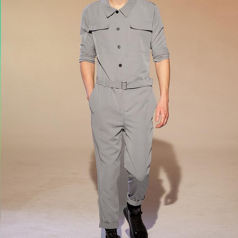 Men's Jumpsuit Suit Men's Work Suit Men's Jumpsuit Men's Hip Jumpsuit Little Leg Pants