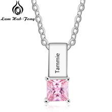 Custom Engraved Name Necklace with Birthstone Personalized Bar Necklaces Nameplate Charm Jewelry Gift for Women (Lam Hub Fong) romantic custom infinity name necklace personalized two nameplate promise charm necklaces valentine s day gift women jewelry bff