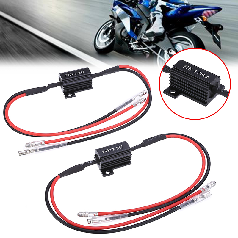 2pcs Motorcycle Resistance Power Resistor Load Decoding Resistor For LED Turn Signal Flash No Flashing Repairing For ATV Scooter