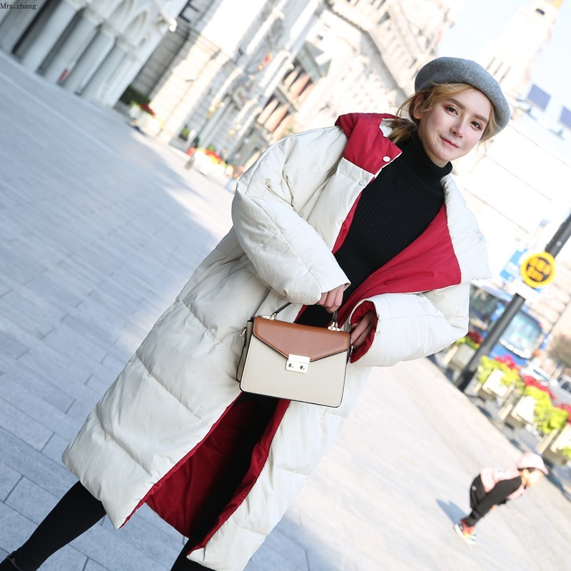 Winter Women Down Jacket Double Side Beige Red Hooded Parkas Long Snow Outwear Overcoat White Duck Down Warm Coats