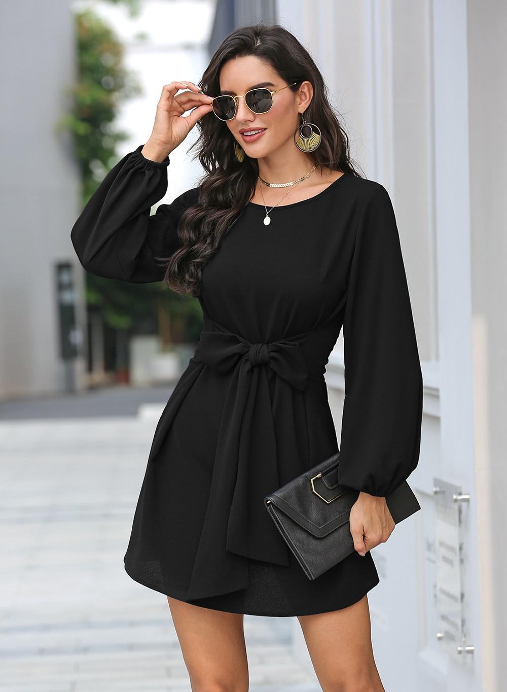 Black Lantern Sleeve Round Neck Casual Dress 18
