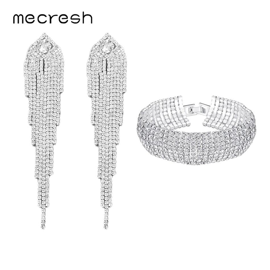 Mecresh Statement Color Rhinestone Wedding Jewelry Set for Women Gorgeous Long Tassel Earrings Bracelet Set EH1647+SL341