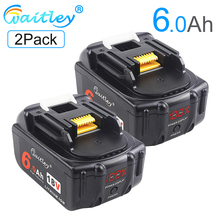 цена на Waitley 2Pack 18V 6000mAh 6.0Ah Rechargeable For Makita Power Tools Battery with LED Li-ion Replacement LXT BL1860 1850 18 v 6A