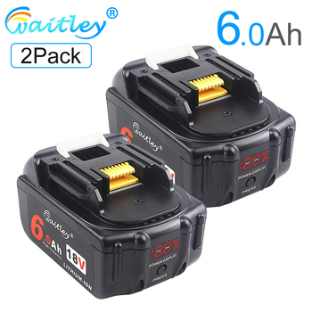 Waitley 2Pack 18V 6000mAh 6.0Ah Rechargeable For Makita Power Tools Battery with LED Li-ion Replacement LXT BL1860 1850 18 v 6A 3pcs 18v bl1860 li ion 6000mah replacement for makita 18v bl1840 bl1830 bl1850 rechargeable power tool battery with usb adapter