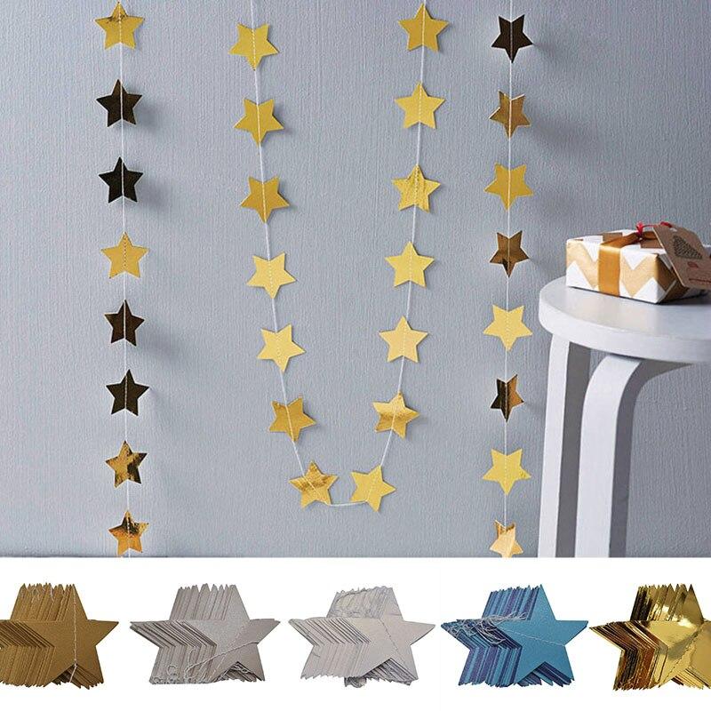 4M Star Garland 7cm 10cm Paper Stars Streamer Glitter Bunting for Birthday Party Decoration Kids Room Decor Baby Shower Supplies