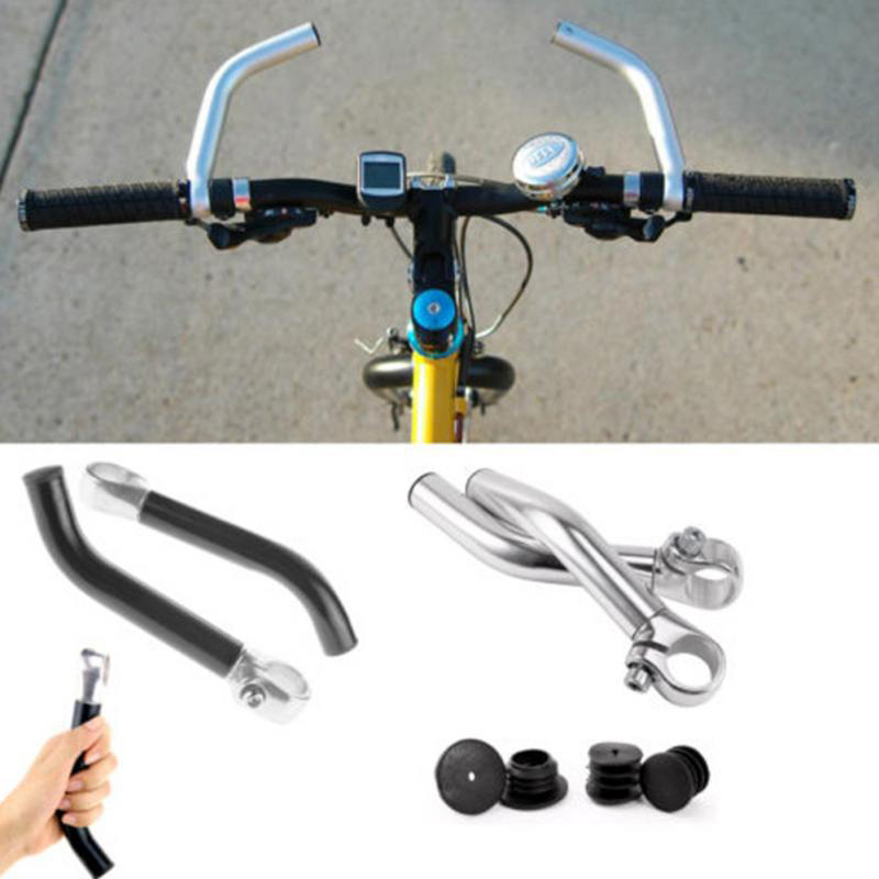 Newly 1Pair Bike Rest Handlebar 15cm Aluminum Bicycle Bent Handlebar Ends for 22.2cm Riding Handlebar Ends Bicycle Horn BFE88